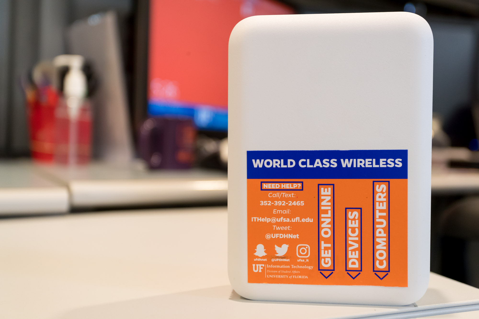 UFSA IT's World Class Wireless access point with info label